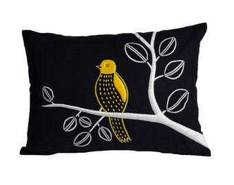 Bird on Branch Lumbar Pillow Cover, Navy Blue Linen Yellow Bird, Embroidered, Bird decoration,  Modern home pillow, Bird Pillow Case