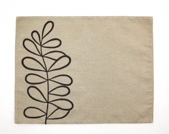 Stem Leaves Placemats set of 4, Light Brown Linen Dark Brown Leaves Embroidery, Embroidered Table Linen, Fabric Placemats, Home Decor
