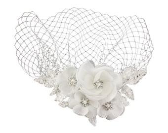 Bridal birdcage veil 1950s style wedding hat headpiece fascinator comb vintage wedding bridal hair accessories