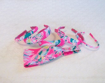 Pink Green Lilly Toucan Can Fabric Headband in 6 Sizes