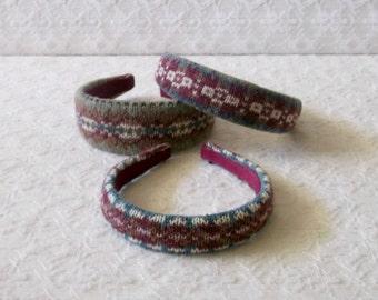 Preppy Burgundy Sage Fair Isle Knit Headband in 3 sizes