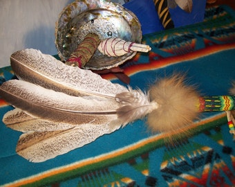 Smudge Fan Smudge Feather gourd/peyote stitch fox fur