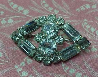 Vintage Kramer of New York Ice Clear Rhinestone Brooch pin
