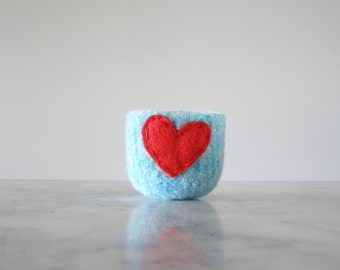 felted wool bowl  -  aquamarine wool with red felt heart - jewelry organizer, wool anniversary - ring bowl - valentines day gift for friends
