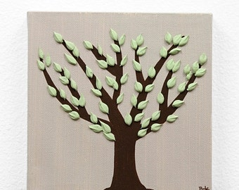 ON SALE Small Tree Painting - Textured Canvas Artwork in Brown and Green - Mini 6x6