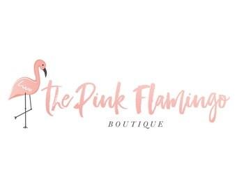 Flamingo Logo Watercolor Logo Blush Pink Logo Boutique Logo Tropical Logo Beach Logo Photography Logo Photography Watermark Premade Logo