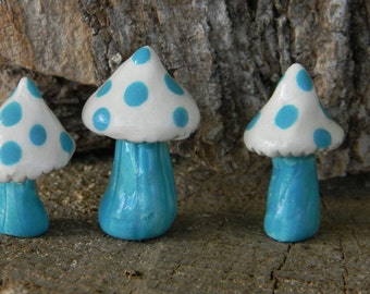 Ceramic Mushroom - Set of Fairy size mushrooms   terrarium or miniature gardens funky fungi Ready to ship turquoise