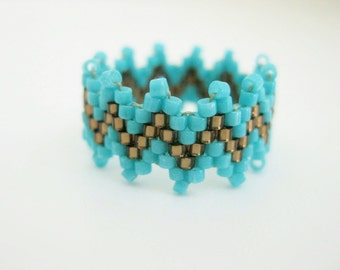 Peyote Ring / Beaded Ring  in Turquoise and Brown / Seed bead Ring / Beaded Band / Custom Ring /  Size  5, 6, 7, 8, 9, 10, 11, 12, 13