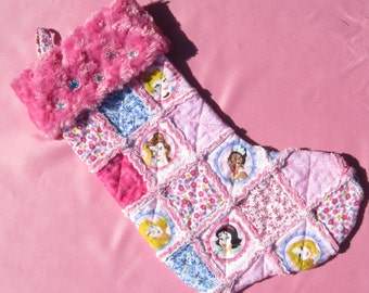 Disney Princess Christmas Stocking Rag Quilted with Cindrella, Sleeping Beauty, Belle, Tiana, Rapunzel and Snow White can be Personalized