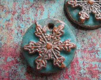 ClassicBead, Snowflake pendant, Handcrafted Stoneware Pendant, by tracee, The Classic Bead, art bead