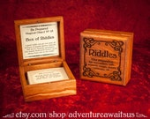 Box of Riddles - Be Prepared Magical Object - laser engraved wood box magic magical fairytale wizard sphinx steampunk harry potter dungeons