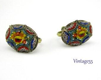 Earrings Mosaic Italy FAP Oval screw back