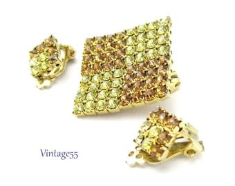 Rhinestone Brooch Set Citrine Champagne Fall