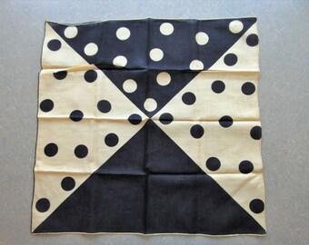 Vintage Scarf, Vintage Large Handkerchief, Polka Dots Hankie, Black and Cream Dots, Square, Mod Polka Dots, Vintage Accessory, Square Hankie