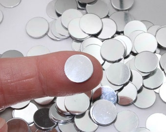"40 11.27mm No Hole Stamping Blanks 11.27 mm Mirror Shiny 22 Gauge 0.44"" Wide Anodized Aluminum Discs Lightweight Blanks With No Hole"