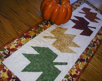 Quilted Table Runner, Fall Leaves,  Autumn Leaves, 14 x 38 inches