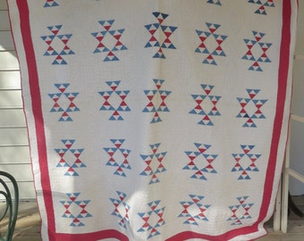 Antique Hand Quilted Red/White/Blue Quilt