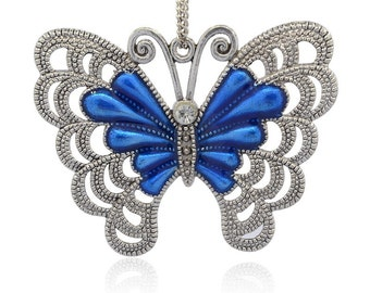 Blue Enamel Butterfly - Sold Individually - #PND247