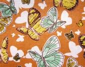 Animal Print Fabric - Butterflies Fabric in Orange - Medium Weight Cotton Fabric By The Yard - Half Yard
