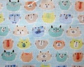 Double Gauze Fabric - Japanese Fabric - Cats in Pastel - Fat Quarter - Cosmo Textile LAST PIECE