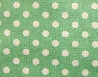 Large Dots in Mint Green Fabric - Polka Dots Cotton Fabric By The Yard - Half Yard