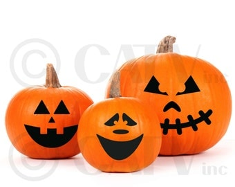 Halloween Pumpkin Face Carving decorating kit Decal stickers self adhesive vinyl sticker craft party for classroom kids