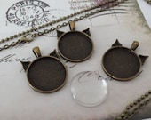 5 Pendant Kits Antique Bronze Kitty Shaped Includes Blank Bezel Trays Glass Cabochons and Rolo or Ball Chains 25mm / 1 Inch
