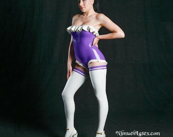 Victorian LATEX Bodysuit with frilly trim, made to order