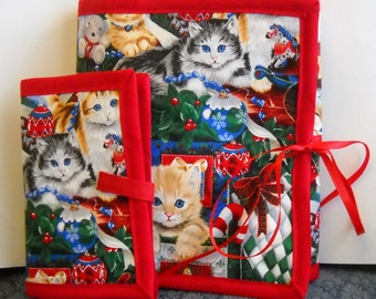 Holiday Cats Sewing Caddy, Needle Book, Hand Sewing Organizers
