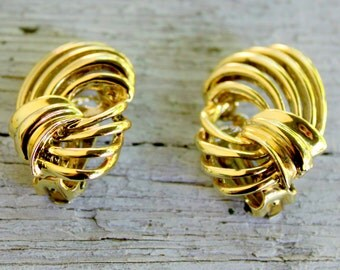 BSK Earrings Gold Tone Bow Clip On 1960s Signed Vintage