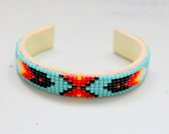 Native American Beadwork Bracelet Leather Vintage