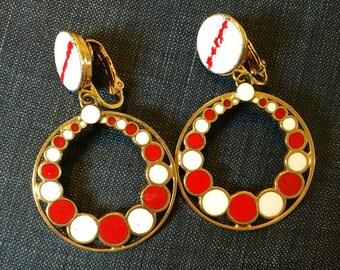 Vintage Red Art Enameled Dangle Earrings clip on  1960s 1970s