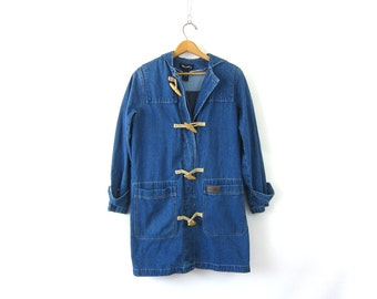 Long Denim Trench Coat vintage denim jean jacket with wooden toggles Southwestern Blanket Lining Field Jacket Barn Coat Hooded Womens Large