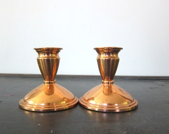 Vintage Candle Holders Candlesticks Pair of 2 Metal Centerpiece Candlestick Holders Copper Rose Gold Color Two Home Decor Dell's