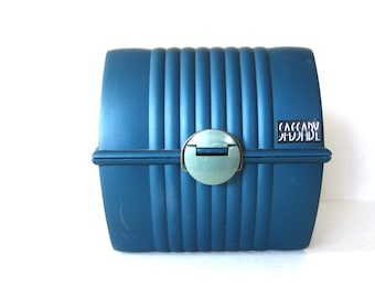 vintage Blue SASSABY jewelry or makeup box Train Case Travel Luggage Cosmetics Organizer 1980s Retro Handle Tote Box with Mirror