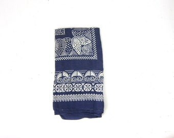 Vintage Blue & White Bandana USA Made cotton handkerchief Hankie Rockabilly Indie Girl Hipster Fast Color RN 15234