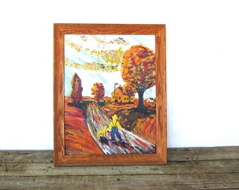 Vintage Folk Art Oil Painting / Boy with Suspenders and his Dog going to Country School wood Framed