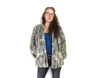Silver 1950's Mongolian Lamb's Fur Coat Grey Textured Lamb Fur Jacket Womens Persian Swing 50s Curly Coat Womens Medium Louanne's Vintage