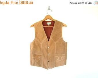 70s suede leather vest. vintage Cowboy vest. Rancher Rugged 1970s manly western vest Sleeveless jacket with snaps Biker Hipster mens Size 3