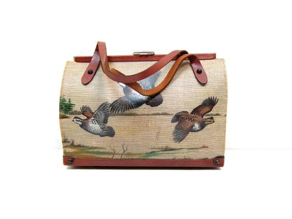Vintage 50s 60s BIRD Shoulder Purse Large Pheasant Scene Handbag Mid Century Leather Carry On Bag Preppy Novelty Weekender Top Handle Purse