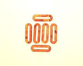 Amber hoop pendant Tortoise shell  hoop bead Rectangular Hoop bead Vintage Plastic Pendant Lucite Large Semi Transparent Bead hoop 4