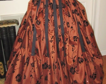 Steampunk Victorian pirate fairy skirt small med large , xl plus 2xl, 3xl, 4xl  earthy rusty  brown flocked black flowers adjustable waist