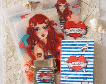 Stationery Gift Set - sea girl - sailor - Heart - Pirate