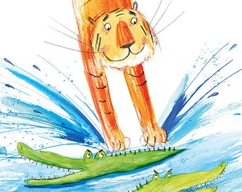 Tiger Splash, A3 Print of my Illustration