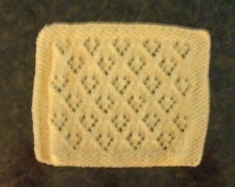 Hand Knit Dishcloth - measures approximately 9x10 inches - Yellow color