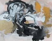 peach, gold and black abstract watercolor, original painting, original art, boho art, abstract art, Watercolors paintings original, wall art