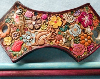 Maroon Border Leather Hair Barrette with Colorful Flowers and Chipmunk Kitten and Butterfly Bird