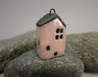 PINK Cottage...Raku Pendant / Necklace