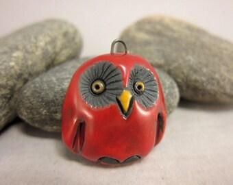 Red Owl...Raku Pendant