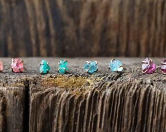 Raw Gemstone Stud Earrings